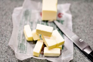 butter cubed with knife