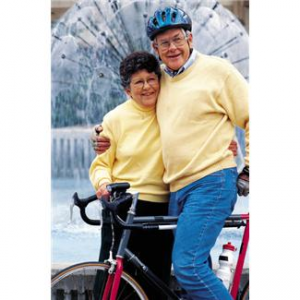 man and woman on bikes