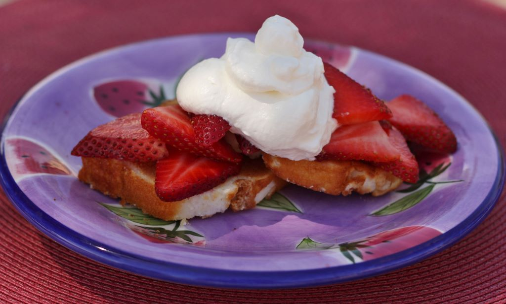 Toasted Angel Food Cake with Strawberries and Fresh Whipped Cream