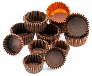 Brown chocolate rounded baking paper cups