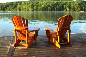 lake front with two chairs