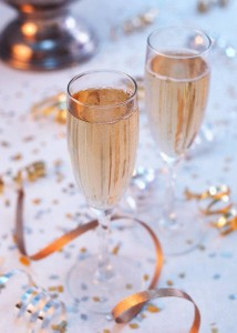new years champagne and confetti