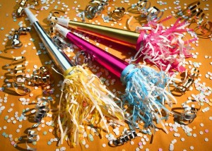 noise makers and confetti