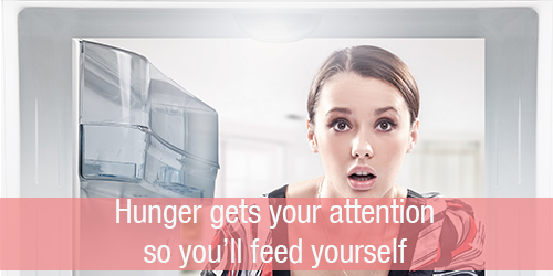 Don't be afraid of hunger! It gets your attention so you'll feed yourself.