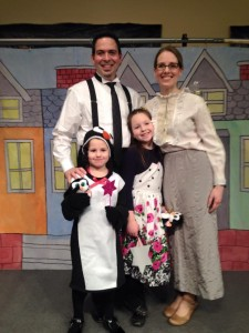 Gretchen and her family in a play
