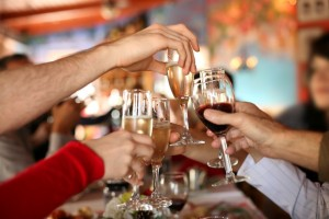 toasting with wine and champagne