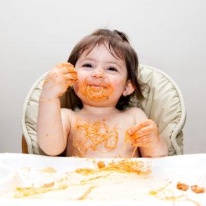 Baby eating instinctively