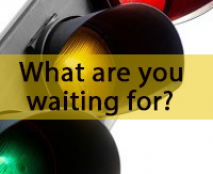 Text over a red, yellow, and green stoplight: